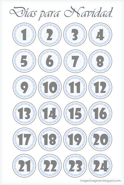 Calendario de adviento para imprimir.