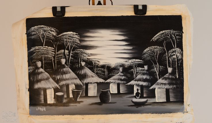 Black & White Oil Painting - 'The Village at Night' - Über den Traum