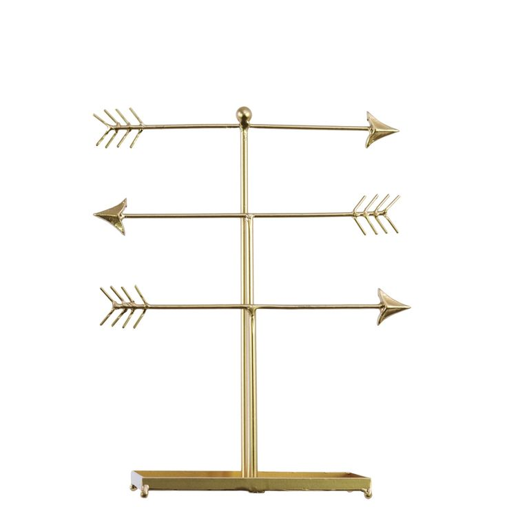 Urban Trends Collection lic -finished Directional Arrow Jewelry Holder with Bone Fletching on a Rectangular Base
