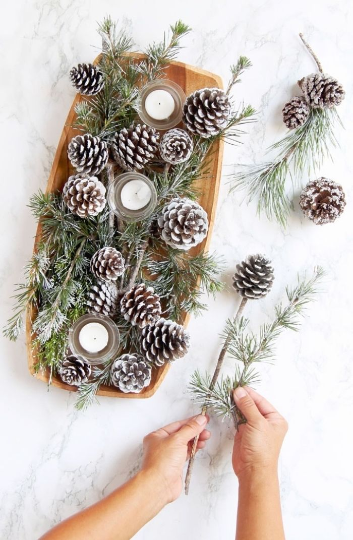 Wooden Tray Full Of Pine Cones Candles And Pine Tree Branches Fall Flower Arrangements Marble Countertop Floral Foam Table Decorations Diy Decor
