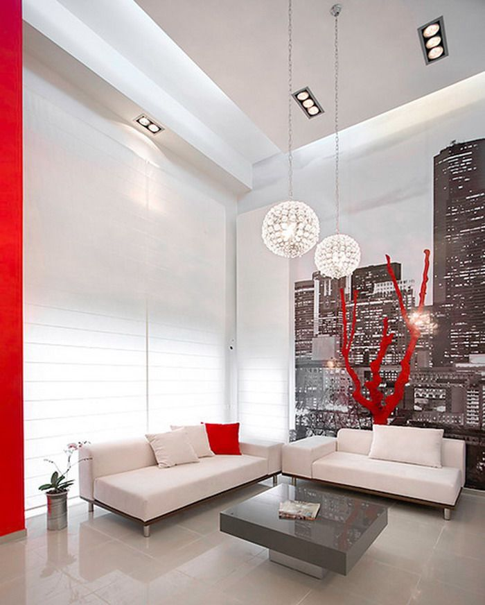 Living Room With City Wall Mural