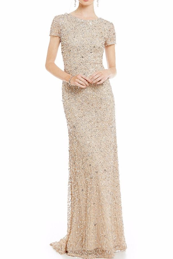Adrianna Papell Cap Sleeve Beaded Scoop Back Champagne Gold Dress
