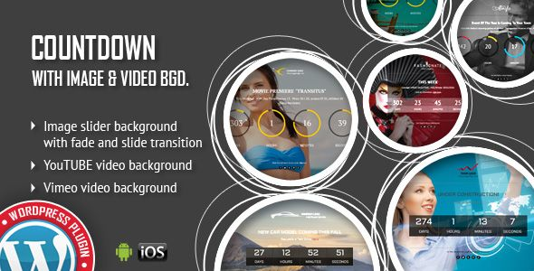 CountDown With Image or Video Background - Responsive WordPress Plugin - Price $12