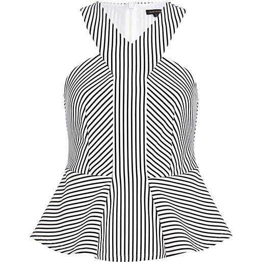 White stripe scuba peplum top - peplum tops - tops - women
