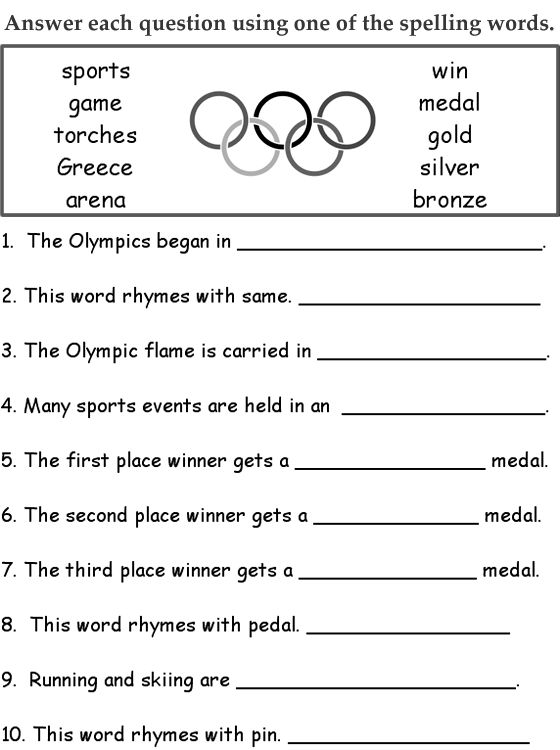 2008 OLYMPIC GAMES - Spelling activity - Student activities related to the Olympic Games.