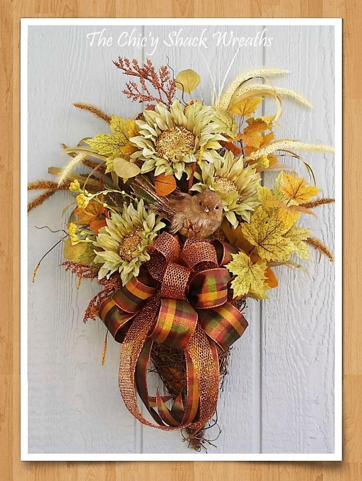Large Fall Basket SwagJeweled Sunflowers Grapevine BasketFall