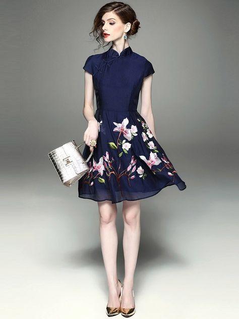 Chiffon Flare Embroidered Qipao / Cheongsam Dress
