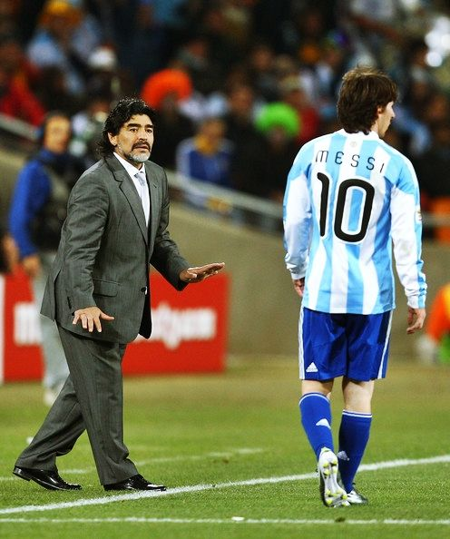 Two Legends - Diego Maradona  Leo Messi. #soccer #argentina http://www.pinterest.com/TheHitman14/sports-usa-world/
