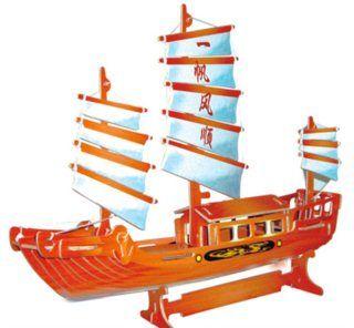 3D dřevěné puzzle Čínská plachetnice barevná