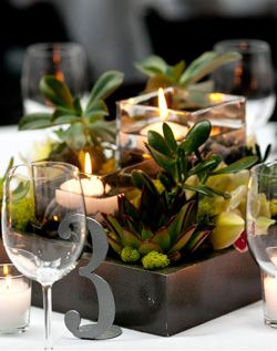 centerpiece, low rustic with candle; I would paint the box black and do the number in another color