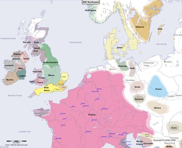 Map showing Europe 800 Northwest