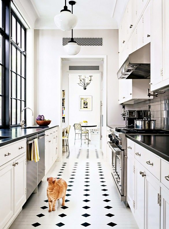 Classic White Kitchen With Black Accents: