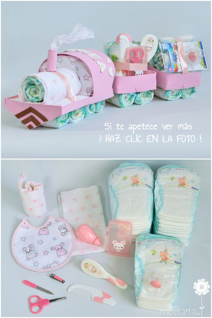 Regalos originales con pañales, un tren de pañales con vagones repleto de detalles de nacimiento para regalar al recién nacido y sorprender a los papás. https://mibbtarta.es/producto/tren-de-panales/ #trendepañales #tartadepañales #canastillabebe #regalosoriginales #canastilla #tartasdepañales #babyshower #regalobebe #regalonacimiento #cestabebe #pasteldepañales  #regalobebe #cestanacimiento #maternidad #embarazo #diapercake #diapercakes #regaloreciennacido #regaloparabebe