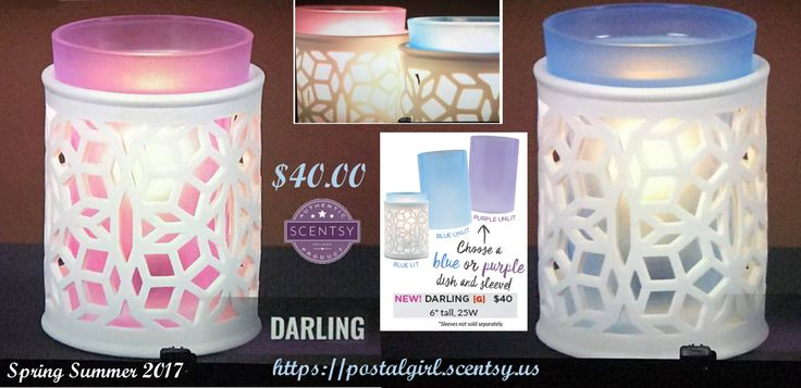 Scentsy new Darling Warmer for Scentsy Spring Summer 2017. With this warmer you choose either a blue or purple dish and sleeve. $40.00 and 6 inches tall. Sleeves not sold separately. Available March 1, 2017 at https://postalgirl.scentsy.us