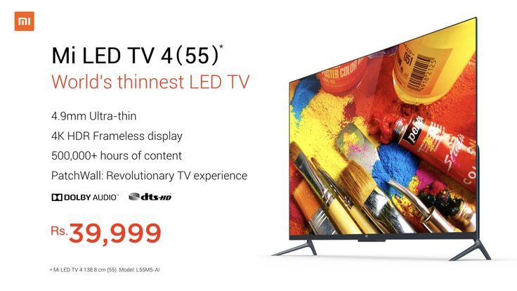 Xiaomi Mi TV LED 4 Goes On Sale In India On Thursday Free Installation Included  Xiaomi announced the worlds thinnest LED TV in India a few days ago for a competitive price tag of Rs. 39999 ($618). Despite having multiple variants (49/ 55/ 69-inch) of the Mi TV 4 in China India gets just the 55-inch model. You can purchase the TV from flipkart mi.com and even Mi Home stores all across the country on Thursday.The Mi TV 4 comes with 3 months of subscription to Sony LIV and Hungama Play among…