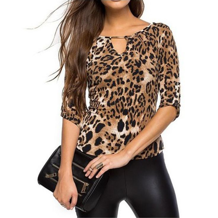 Blouse Women Tops 2016 Half Sleeve Femme Shirt Plus Size Casual Women Clothing Lady Leopard Print Blouses Blusas Mujer