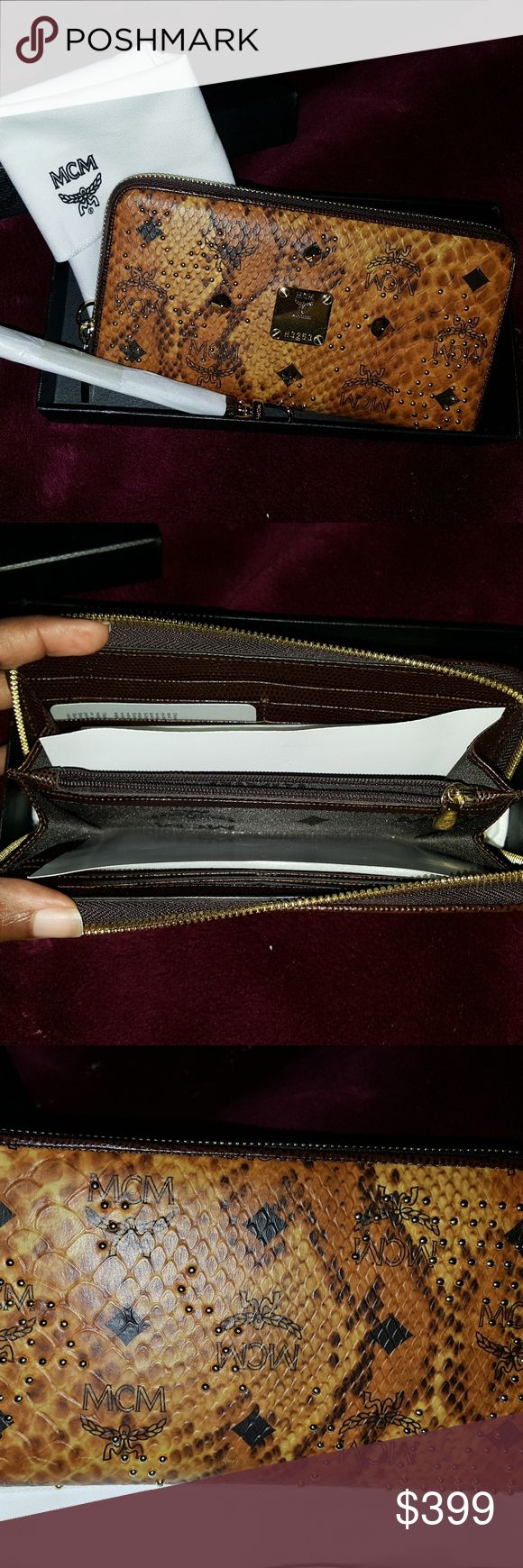 NVM studded zip around wallet Used. In excellent condition. Minor wear on the interior and exterior. Comes with box, dust bag, and unopened/unused wristlet that can be attached to the wallet. MCM Bags Wallets