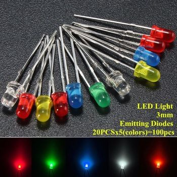 100pcs/lot 3mm LED Emitting Diodes Light Kit Round Top 5 Colors Diffused White Yellow Red Blue Green Assortment For DIY Lighting  Price: 1.52 USD