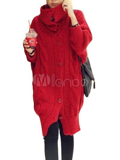 Cardigan in lana rosso moderno per donne - Milanoo.com