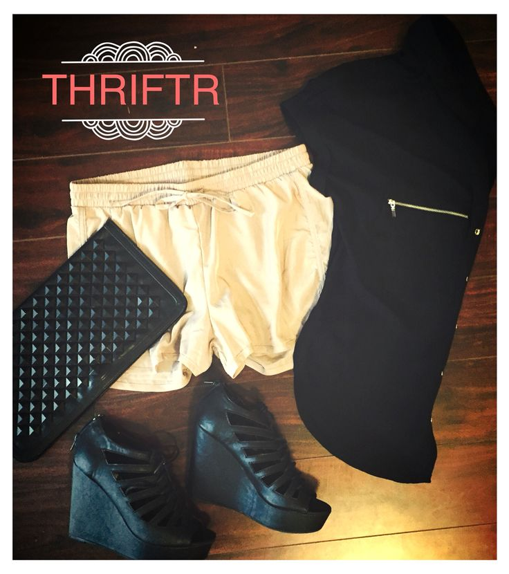 They look like just a pair of casual jogger style shorts, but pair them with a loose fitting blouse and a pair of wedges and voila, you're ready to impress! #thriftedfashion #womensfashiom #wedges #studdedclutch #casualtoclassy #thriftr