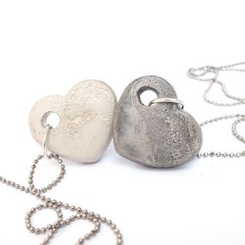 Set of 2 long heart necklaces, Two concrete necklace, Matching necklaces - for…
