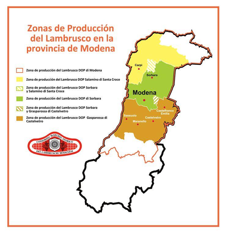 Las zonas de producción del #LambruscoDOP en la provincia de #Modena (Italia) tuteladas por el Consorzio Marchio Storico dei Lambruschi Modenesi