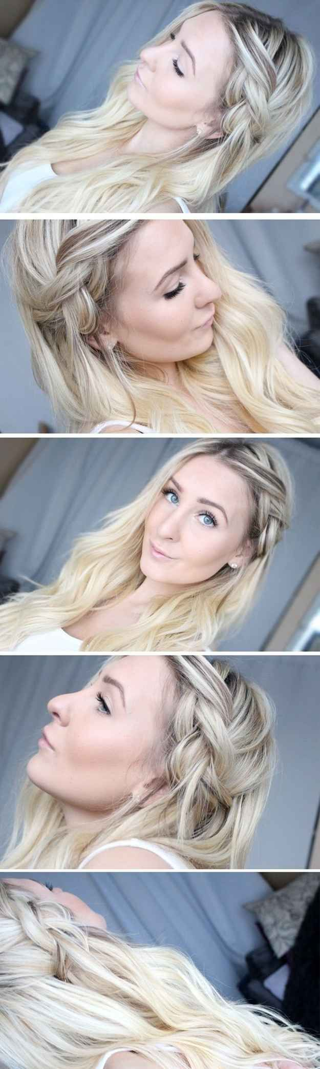 This half-done braid will stay even better in unwashed hair. | 26 Lazy Girl Hairstyling Hacks
