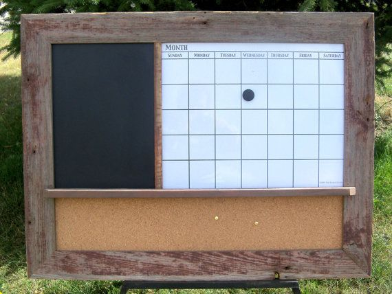barnwood framed message center with magnetic dry erase calendar chalkboard and corkboard