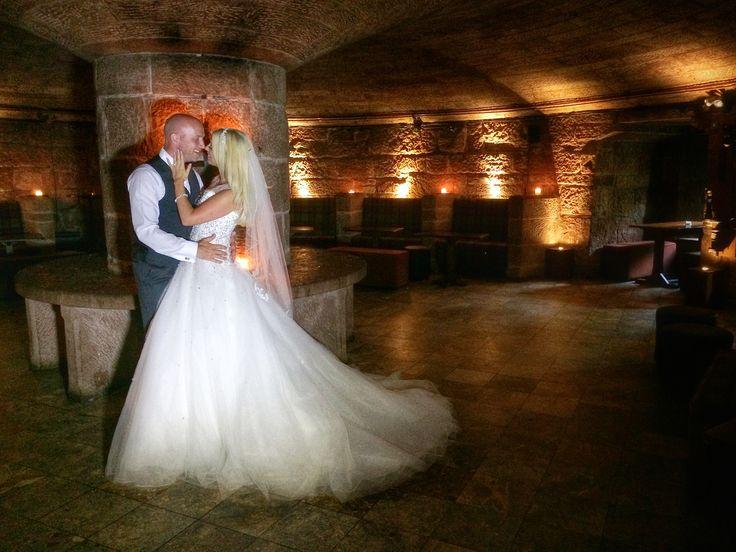Jo & Simon in the wine cellar @peckforton