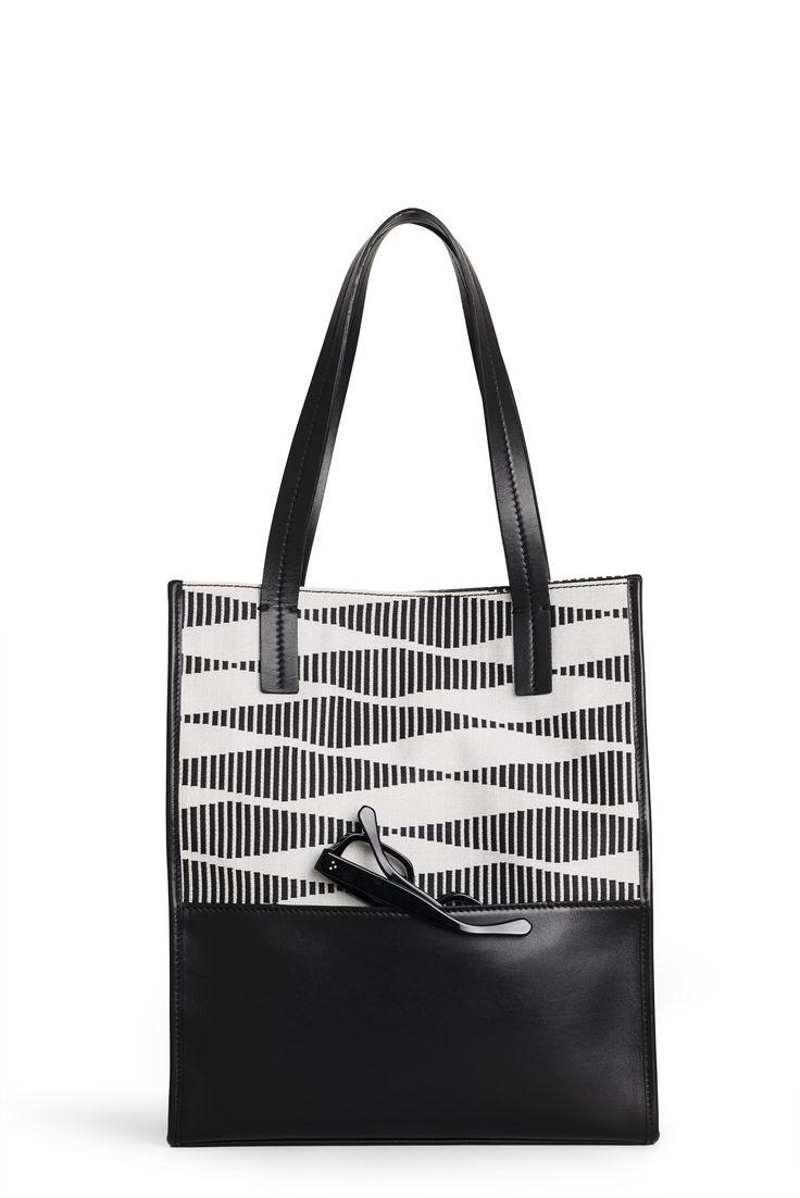 "Sara C. Milano ""SQUAREBOX 1"" Bag. Black and White Jacquard Fabric + Black Calf Leather. Handmade in Italy."
