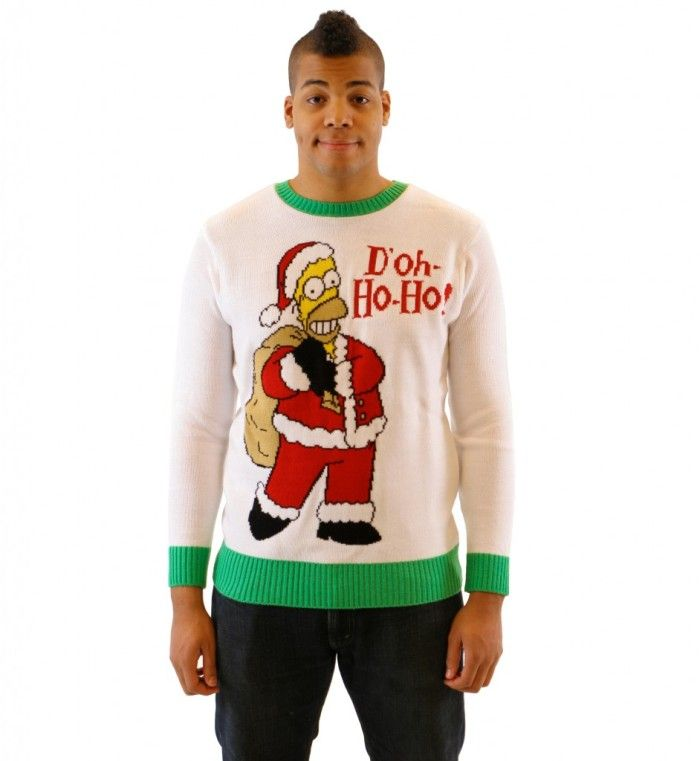 The Simpsons Homer Doh Ho Ho Adult Off-White Sweater