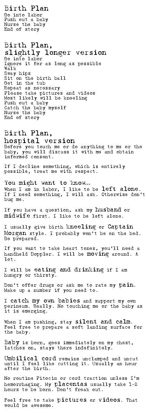 """A Birth Plan - This is great!  I love the mention of birthing """"Captain Morgan style!""""  :D"""