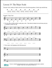 Free Printable Music Worksheets | Opus Music Worksheets | Music Theory Worksheets - Music Theory Worksheet 19 The Major Scale