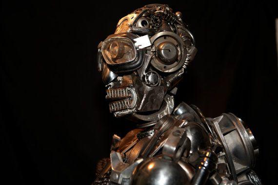 IRON MAN   Metal robot sculpture life size by AtelierIslandArt