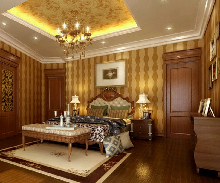 Luxury Ceiling Design Idea For Bedroom With Brown Furniture