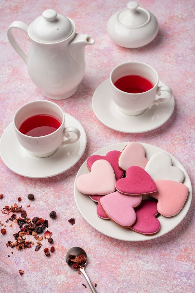 Heart Shape Cookies With Icing With Berry Tea Concept Valentine S Day Tea Party Festive Table Setting In Pink In 2021 Festive Table Setting Berry Tea Heart Shaped Cookies