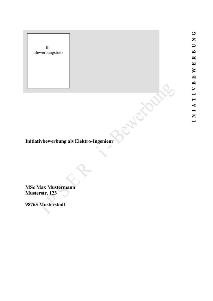 Dies ist ein Beispiel, wie ein Deckblatt einer Bewerbung (Initiativbewerbung) für die Stelle eines Elektro-Ingenieurs aussehen könnte.  Mehr Muster auf www.initiativbewerbungen.com