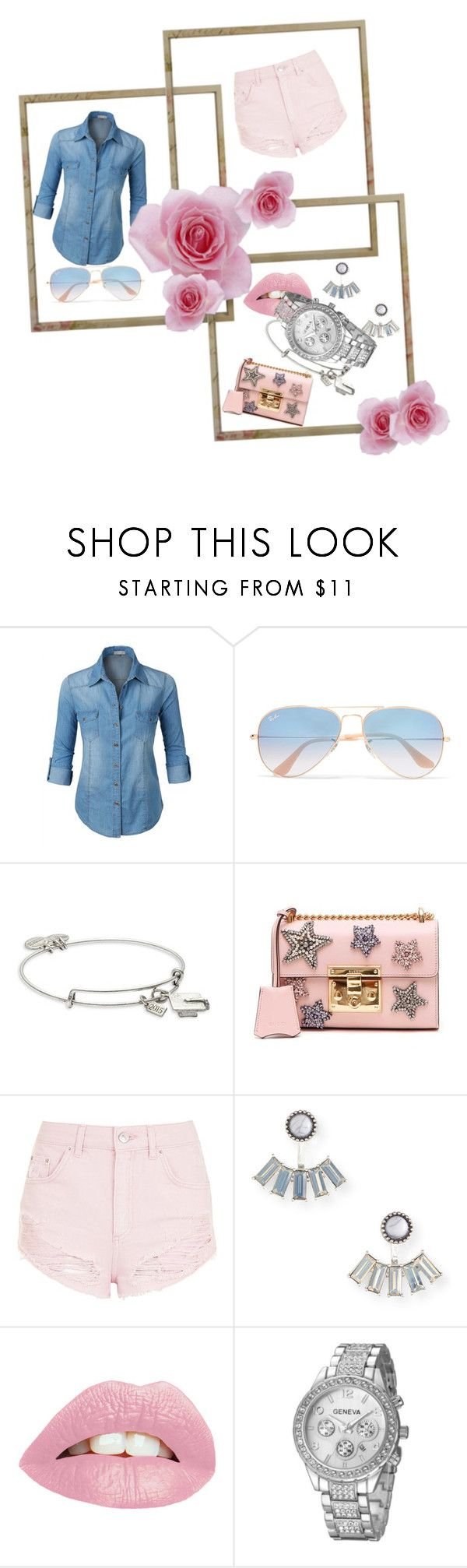 """Pink short"" by frupapp on Polyvore featuring LE3NO, Ray-Ban, Alex and Ani, Gucci, Topshop and Aéropostale"