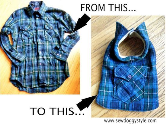 Old flannel shirt a dog coat! 3-brilliant-ways-to-repurpose-worn-out-clothes