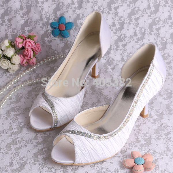 38.70$  Watch now - Wedopus Custom Handmade Latest Women Party Dress Shoes White Satin Pumps 8CM Heel Plus Size  #magazine
