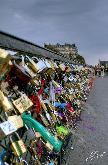 "One of the many ""love locks""  bridges in Paris."