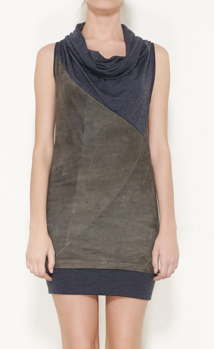 Brunello Cucinelli Deep Taupe And Gray Dress   VAUNTE