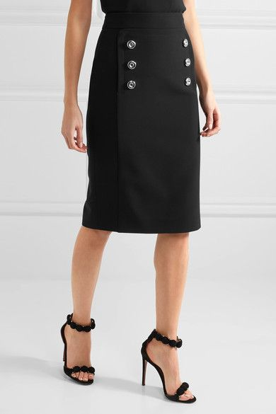 Michael Kors Collection - Button-detailed Wool-twill Pencil Skirt - Black - US10