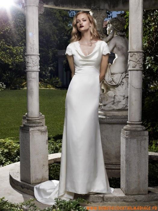 Robe de marié elegante simple En ligne avec traîne en satin