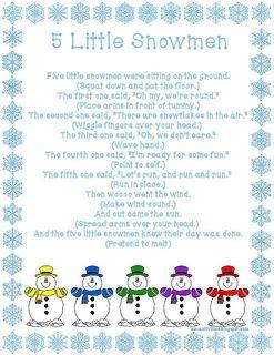 Five Little Snowmen fingerplay
