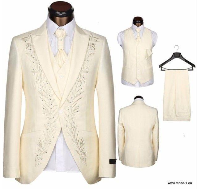 Italienischer Herren Anzug mit Stickereien 3 Teilig in Weiß