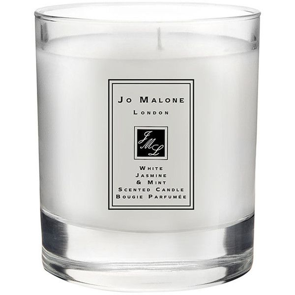 Women's Jo Malone 'White Jasmine & Mint' Scented Home Candle (935 ZAR) ❤ liked on Polyvore featuring home, home decor, white home accessories, jo malone, inspirational home decor and white home decor
