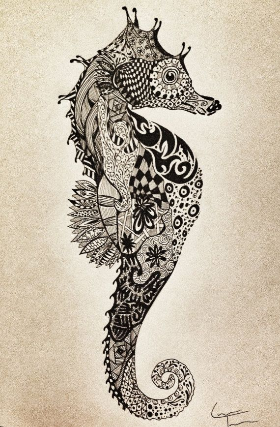 Awesome for a tattoo SeaHorse Zentangle Design by TelferZentangle on Etsy