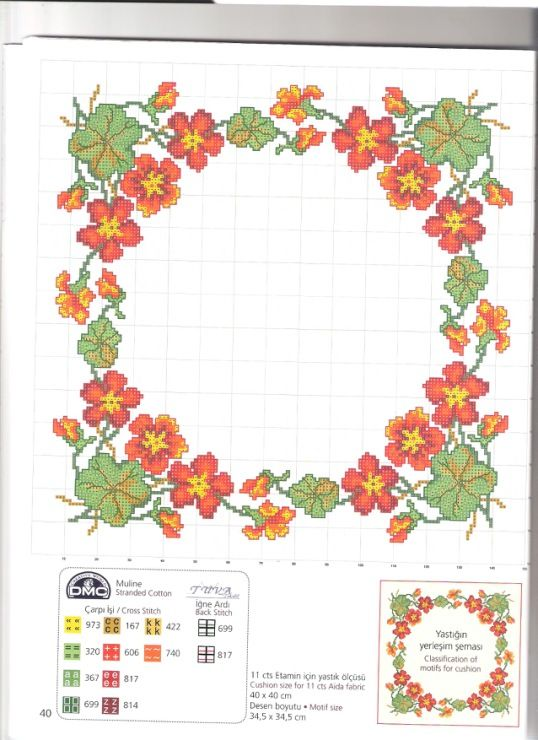 Nasturtium cross stitch wreath
