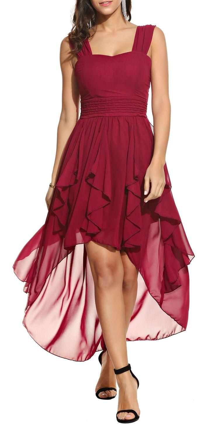 Wine Red Square Collar Sleeveless Ruffle Asymmetrical Hem Wrap Chiffon Maxi Dress